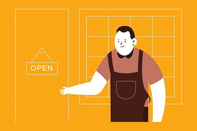 Proprietario piccola impresa e porta aperta segno Vettore Premium