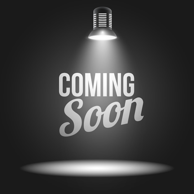 Prossimamente messaggio illuminato con proiettore di luce Vettore gratuito