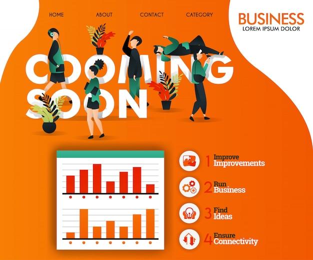 Prossimamente modello web arancione Vettore Premium