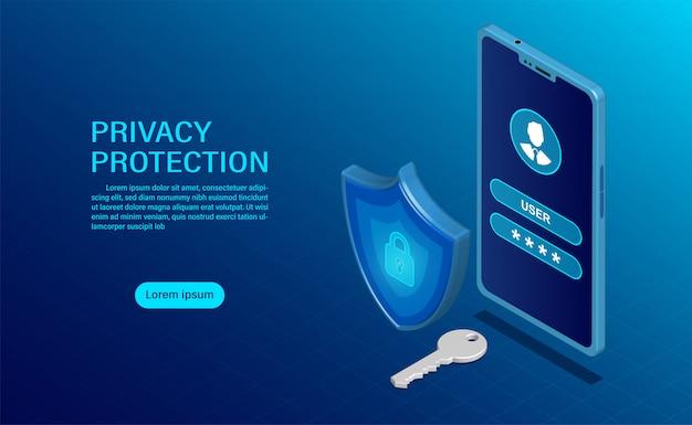 Proteggere i dati e la riservatezza sui dispositivi mobili. la protezione della privacy e la sicurezza sono confidenziali. Vettore Premium