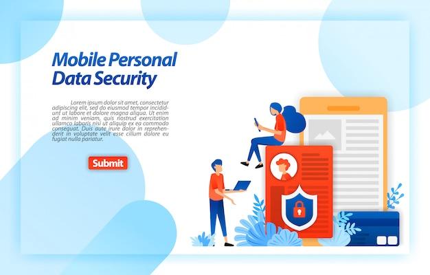 Proteggi i dati personali dell'utente mobile per prevenire l'hacking e l'uso improprio di cybercriminalità. bloccare e proteggere i dati personali. modello web della pagina di destinazione Vettore Premium