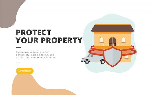 Proteggi la tua illustrazione di banner design piatto Vettore Premium