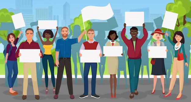 Protesta le persone con un grande cartello in dimostrazione Vettore Premium
