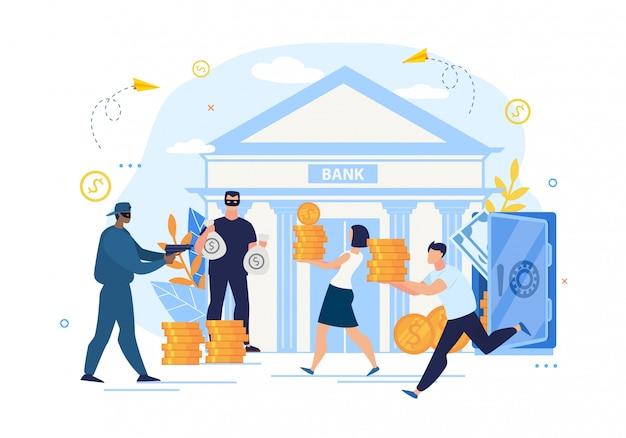 Protezione da rapina in banca e cattiva conservazione Vettore Premium