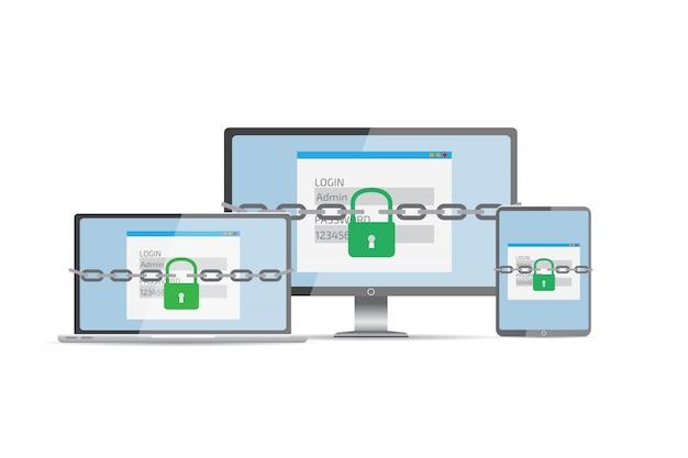 Protezione dagli hacker Vettore Premium