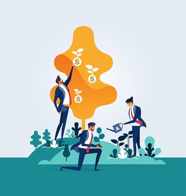 Protezione degli uomini d'affari e salvaguardia dell'ambiente Vettore Premium