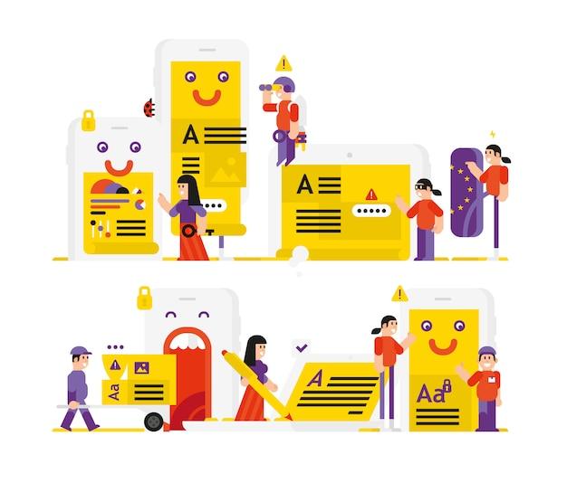 Protezione dei dati degli utenti. Vettore Premium
