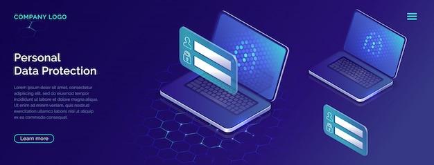 Protezione del concetto di dati personali, sicurezza dell'account Vettore gratuito