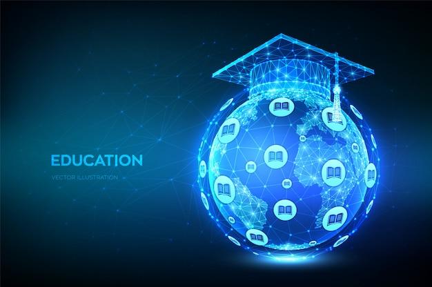 Protezione di graduazione poligonale bassa astratta sulla mappa del modello del globo del pianeta terra. concetto di e-learning. Vettore gratuito