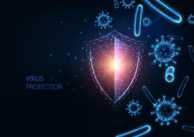 Protezione futuristica del sistema immunitario con scudo luminoso poligonale basso, sfondo di cellule di virus e batteri Vettore Premium