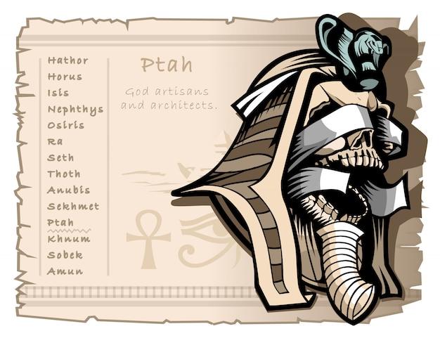 Ptah patrono di artigiani e architetti Vettore Premium