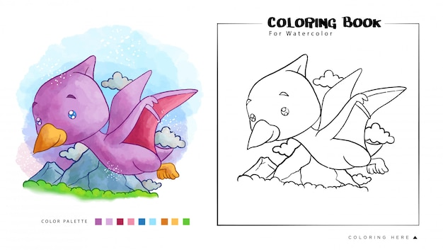 Pterodattilo carino volare sul cielo. illustrazione del fumetto per il libro da colorare dell'acquerello Vettore Premium