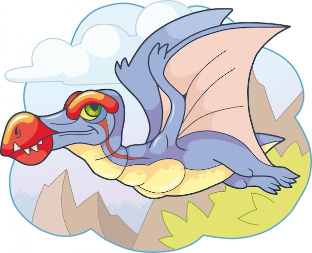 Pterosauro di dinosauro preistorico sveglio del fumetto, illustrazione divertente Vettore Premium