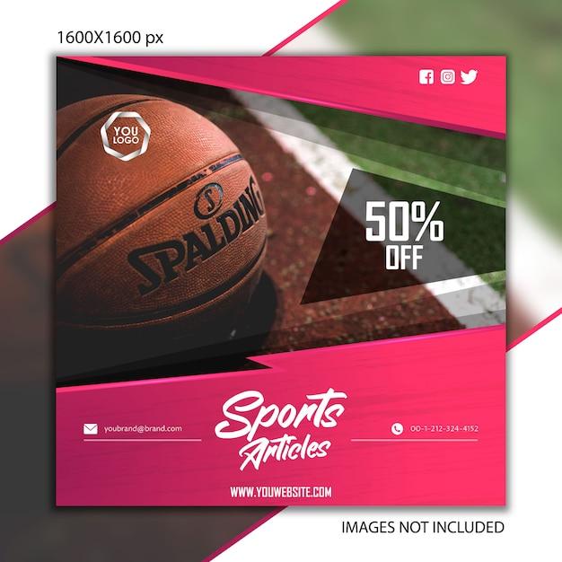 Pubblicazione sportiva basket per social network Vettore Premium