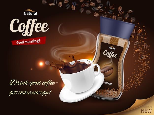 Pubblicità del caffè composizione realistica Vettore gratuito