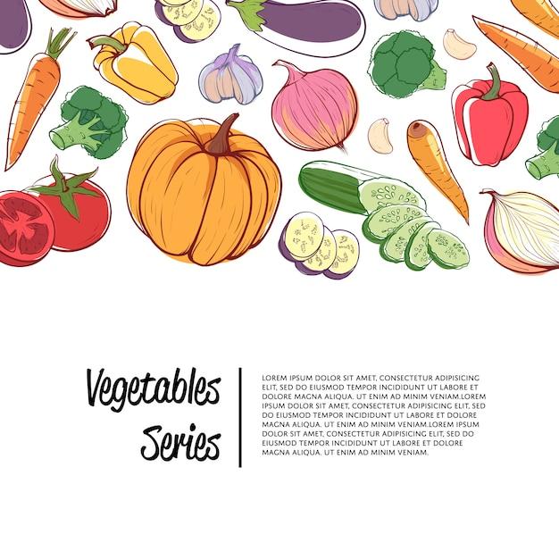 Pubblicità del supermercato di verdure biologiche fresche Vettore Premium