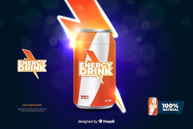 Pubblicità di bevande energetiche realistiche Vettore gratuito