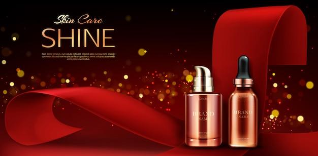 Pubblicità di flaconi per la cosmetica, linea di prodotti per la cura della pelle Vettore gratuito