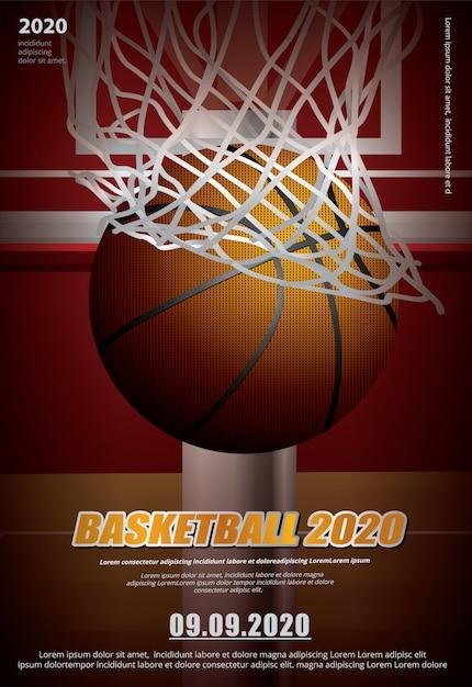 Pubblicità di poster di basket Vettore Premium