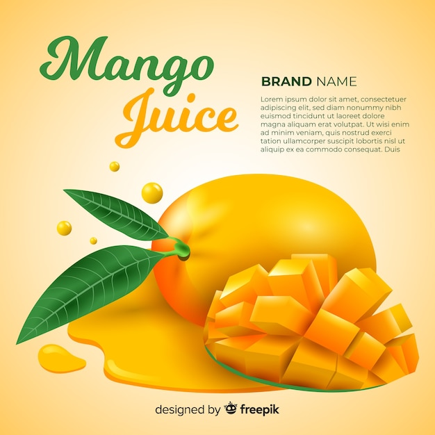 Pubblicità di succo di mango realistico Vettore gratuito