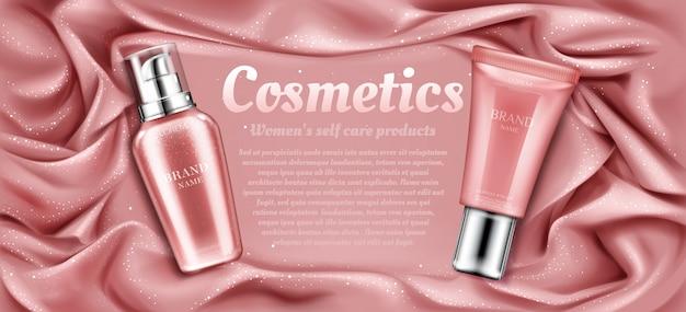 Pubblicità di tubi cosmetici, prodotto di bellezza termale naturale Vettore gratuito