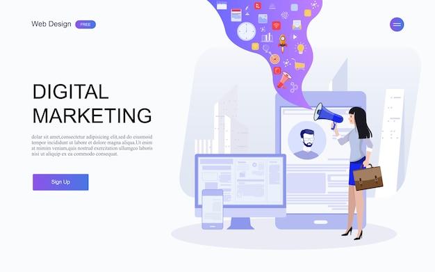 Pubblicità digitale, conferenza online di marketing tramite e-mail, promozione dei media Vettore Premium