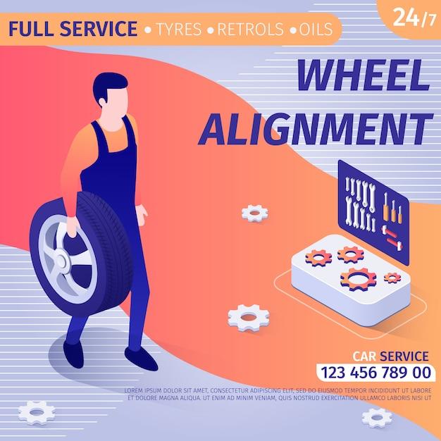 Pubblicità per allineamento ruote in banner design Vettore Premium