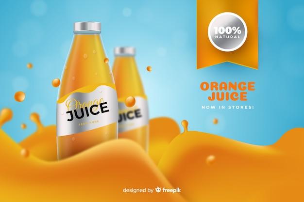 Pubblicità realistica di succo d'arancia Vettore gratuito