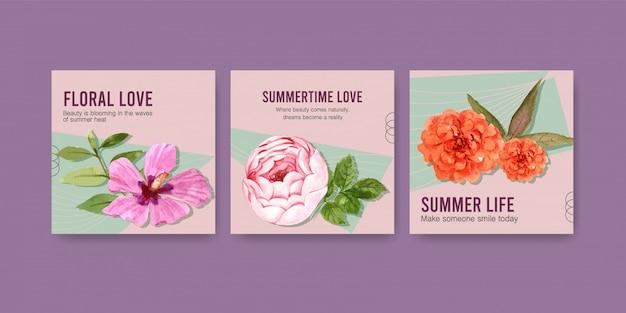 Pubblicizza il modello con l'acquerello di design floreale estivo Vettore gratuito