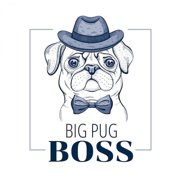 Pug boss dog. vettore animale freddo nello stile disegnato a mano di scarabocchio. Vettore Premium