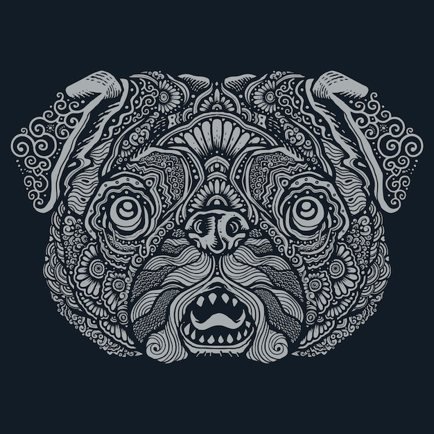 Pug dog ethnic mandala illustration Vettore Premium