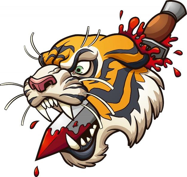 Pugnale tigre Vettore Premium