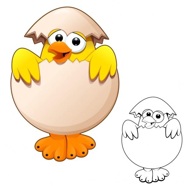 Pulcino divertente nel cartone animato uovo e vettoriale