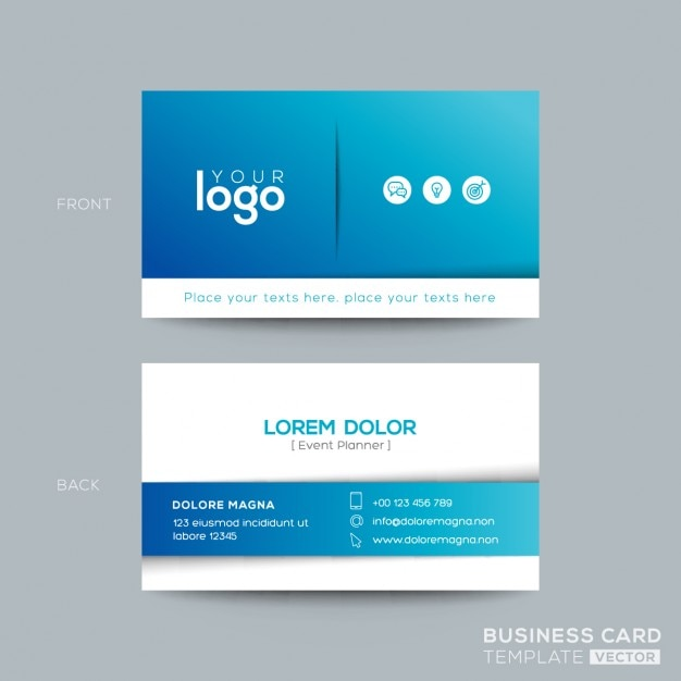 Pulire e design semplice biglietto da visita biglietto da visita blu Vettore gratuito