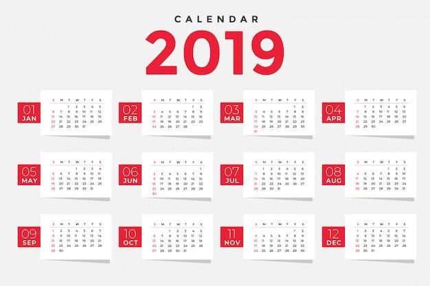 Pulire il design del modello di calendario 2019 Vettore gratuito