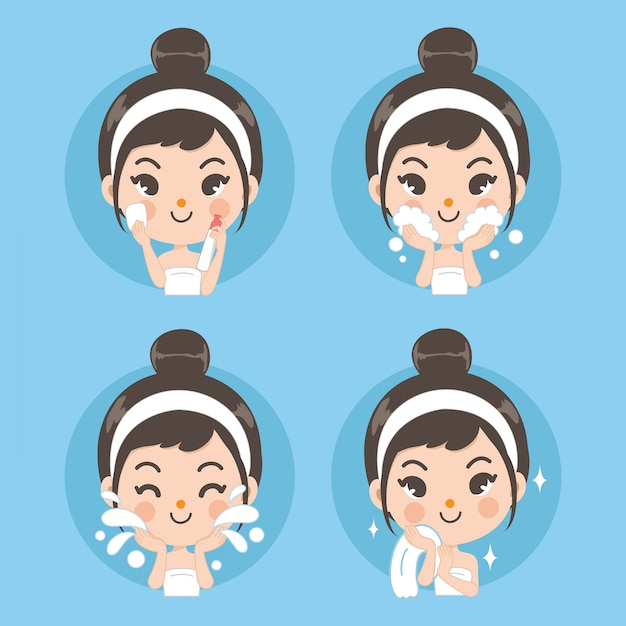 Pulire viso e trattamento viso con ragazze carine. Vettore Premium