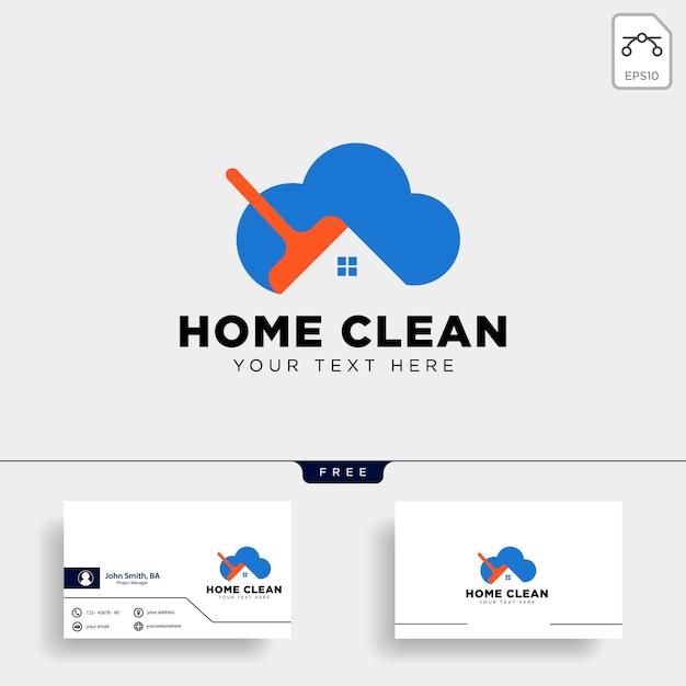 Pulisca la casa o l'illustrazione creativa di vettore del modello di logo della casa Vettore Premium