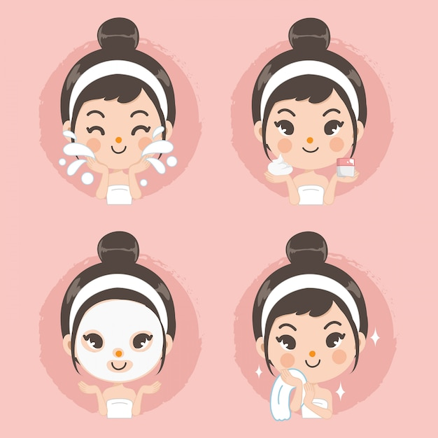 Pulisca la ragazza sveglia di trattamento della schiuma della maschera e del fronte. Vettore Premium