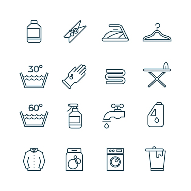 Pulisca le icone della linea di servizio della lavanderia e dell'asciugatrice Vettore Premium