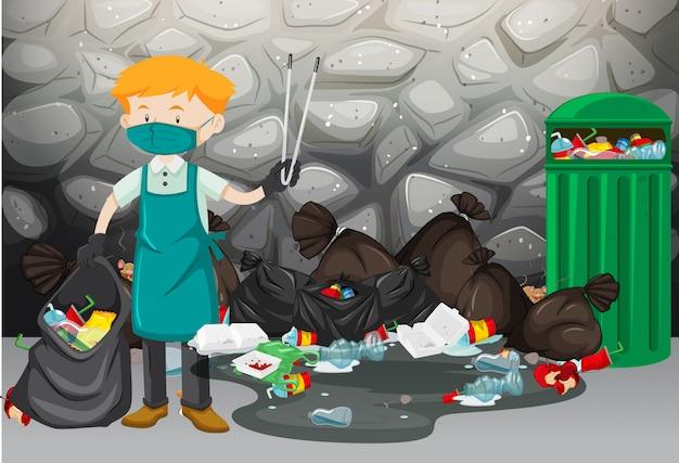 Pulitore che pulisce la spazzatura sul pavimento Vettore gratuito