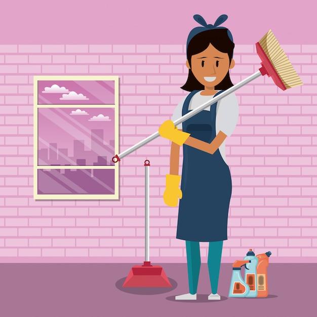 Pulitore con servizio di pulizia prodotti per la pulizia Vettore gratuito