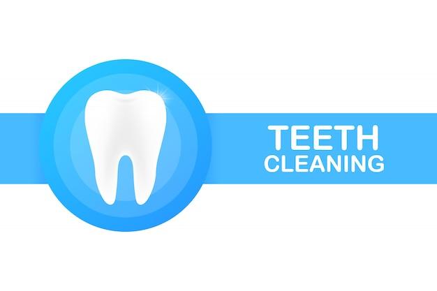 Pulizia dei denti. denti con disegno dell'icona scudo. concetto di cura dentale. denti sani. denti umani. Vettore Premium