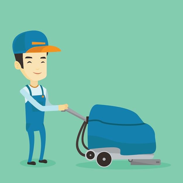 Pulizia del magazzino del lavoratore con macchina. Vettore Premium