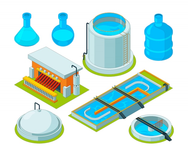 Pulizia dell'acqua. immagini isometriche di depurazione delle acque chimiche industriali di trasporto dei rifiuti di trattamento di irrigazione Vettore Premium