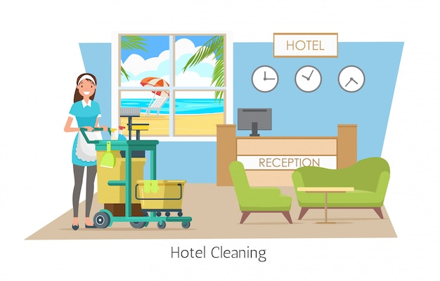 Pulizia dell'hotel, servizio di pulizia in vacanza. Vettore Premium