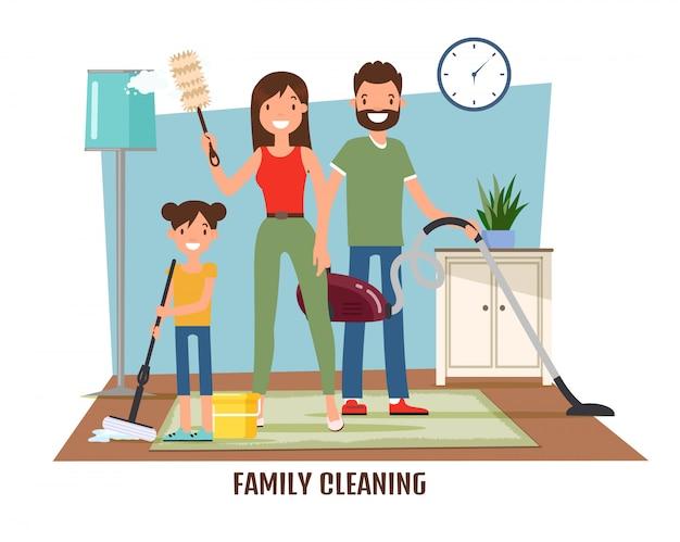 Pulizia della famiglia, fare le faccende domestiche Vettore Premium