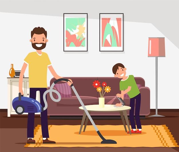 Pulizia di padre e figlio, facendo le faccende domestiche. Vettore Premium