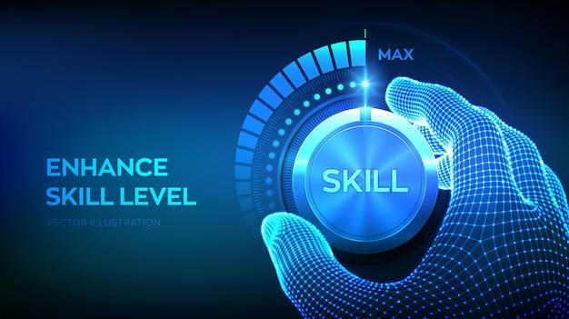 Pulsante manopola livelli di abilità. aumento del livello di abilità Vettore Premium