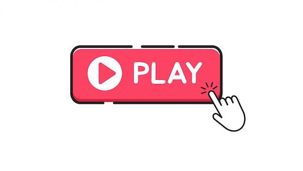 Pulsante play su sfondo bianco Vettore Premium