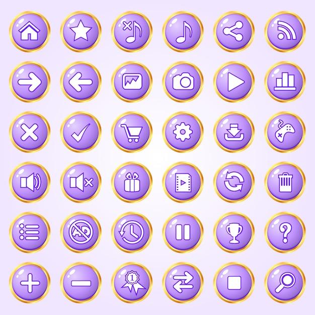 Pulsanti cerchio colore viola bordo oro icona set per giochi. Vettore Premium